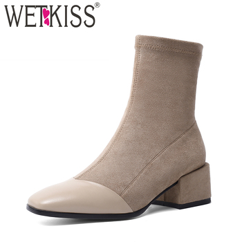 WETKISS High Heels Stretch Boots Women Cow Leather Ankle Boot Female Square Toe Shoes Ladies Stitching Shoes Winter 2020 New