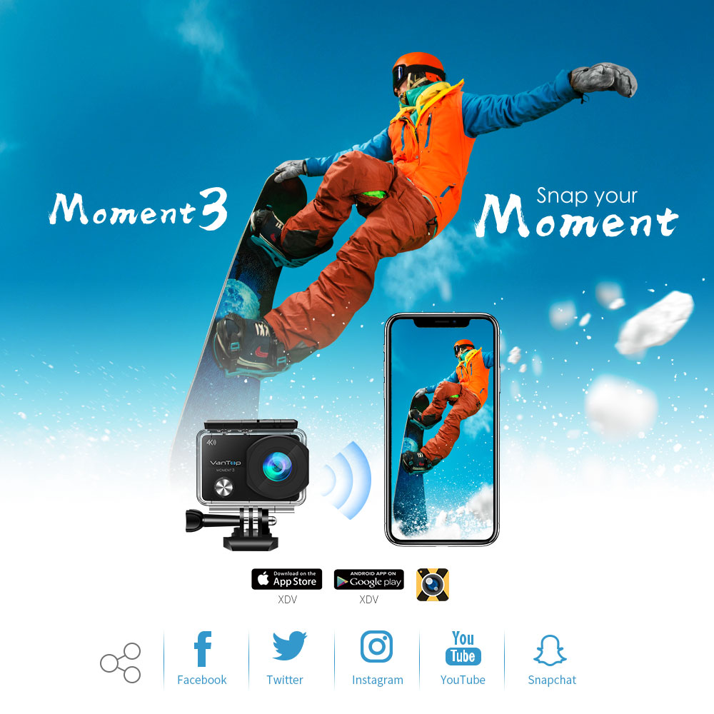 VanTop Moment 3 4K Action Camera Underwater Waterproof Camera  with 170° Wide Angle Outdoor Mini  WiFi Video Sports Mini Camera-4