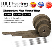 High Quality 5cm*5M 10M 15M Titanium/Black Exhaust Heat Wrap Roll for Motorcycle Fiberglass Heat Shield Tape with Stainless Ties