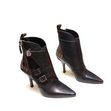 Женские кожаные ботильоны v vl на толстом каблуке молнии в британском