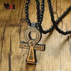 Vnox Wood Anka Cross Pendant for Men Long Necklace 35