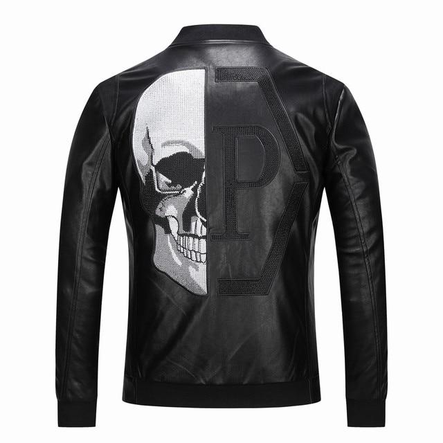2021 Skull Rhinestones PU Jackets Men Black High Street Stand-Neck Zipper Rib Sleeve Streetwear Motorcycle Faux Leather Coats 1