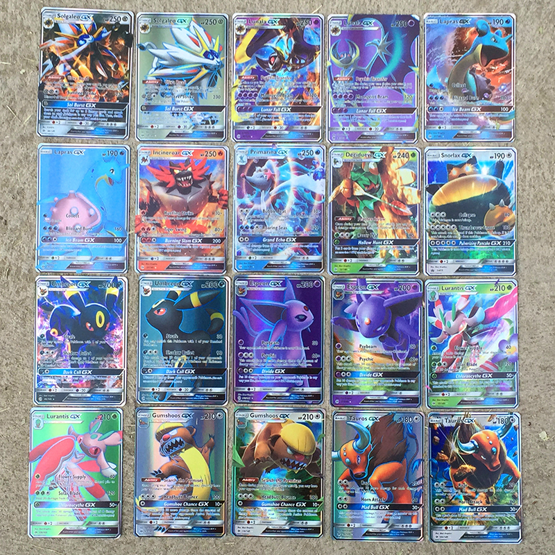 TAKARA TOMY Pokemon Flash Cards 20pcs GX Game Battle Carte Trading Cards Game Children Toy
