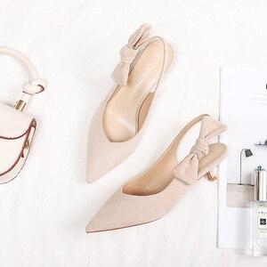 Image 3 - 2020 เซ็กซี่บางรองเท้าส้นสูงรองเท้าผู้หญิงหนัง Faux Suede หนัง Pointed Toe ปั๊มสำนักงาน Lady Butterfly Knot รองเท้าแตะผู้หญิง