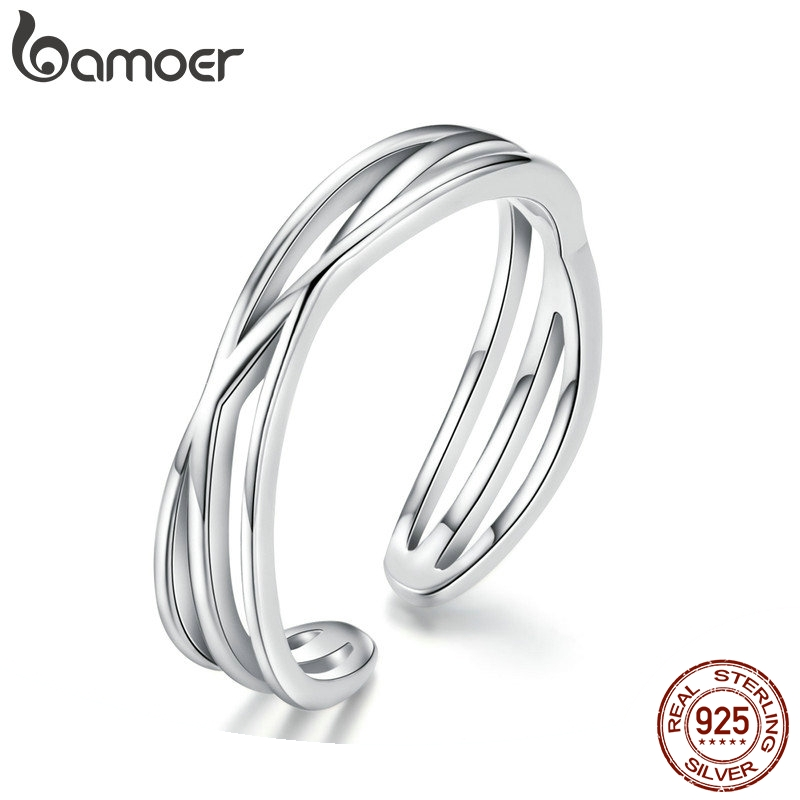 BAMOER Authentic 925 Sterling Silver Geometric Twisted Wave Open Size Finger Rings Women Wedding Engagement Jewelry SCR483(China)