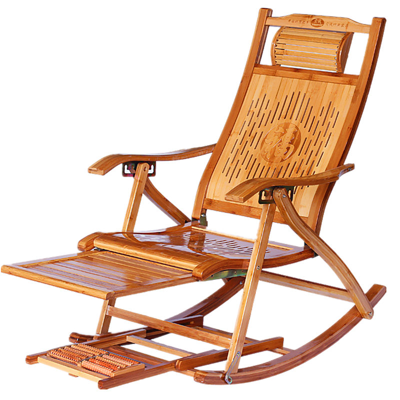 Bamboo Rocking Chair Folding Chair Household Napping Cooling Chair Old People Leisure Easy Chair