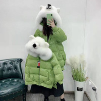 Down jackets Parent child outfit women coat winter hooded with natural real fox fur collar The bear hat thick warm parka