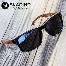 Wood Men Sunglasses Polarized UV400 SKADINO Beech Wooden Sun Glasses for Women B