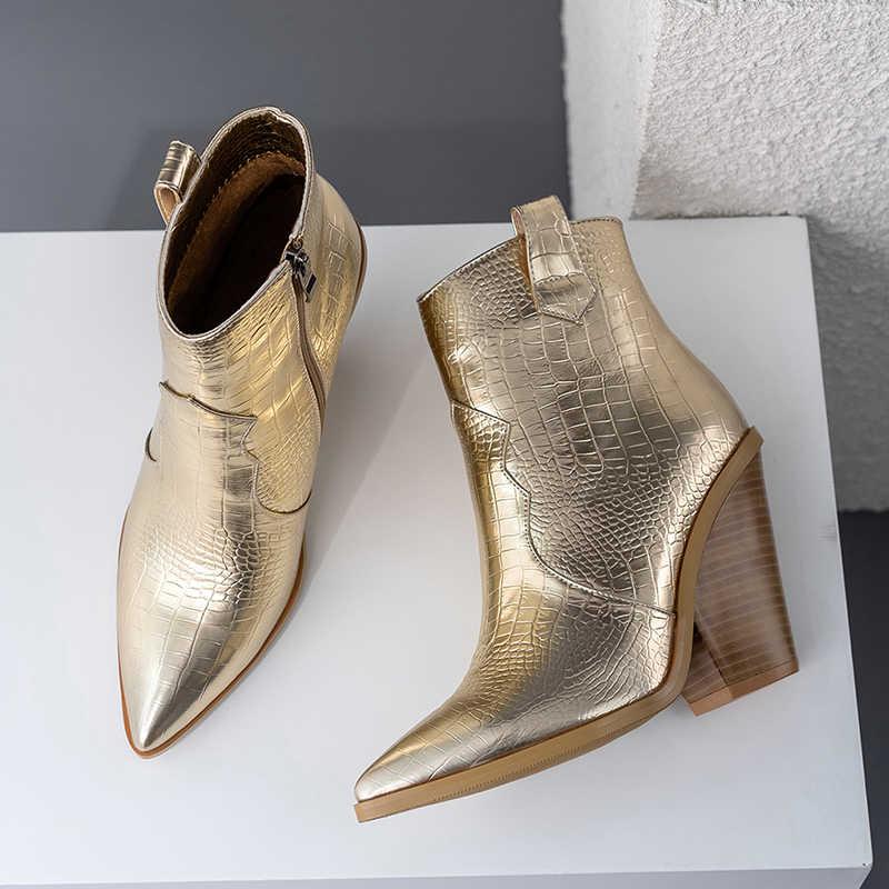 2019 Slangenprint Enkellaars voor Vrouwen Herfst Winter Western Cowboy Laarzen Vrouwen Wig Hoge Hak Laarzen Goud Zilver Mode schoenen