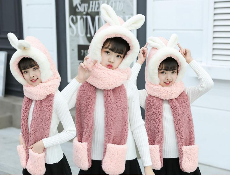 Winter New Double Thickened Warm Rabbit Ear Hat Scarf Gloves Three-piece All-in-one Fluffy Hat Lovely Woman