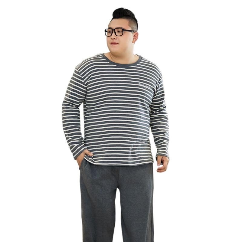 Winter Fashion Striped 5XL 140kg Mens Sleepwear 100% Pure Cotton Long Sleeves Pyjamas Men Autumn Pajama Sets Men Homewear
