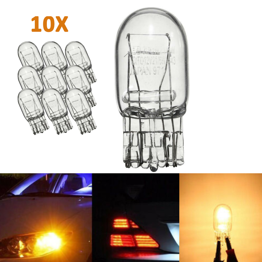 10Pcs T20 7443 W21 5W Clear Glass  DRL Turn Signal Brake Stop Tail Lights Bulb 12V LED Taillights Halohen Bulbs For Cars