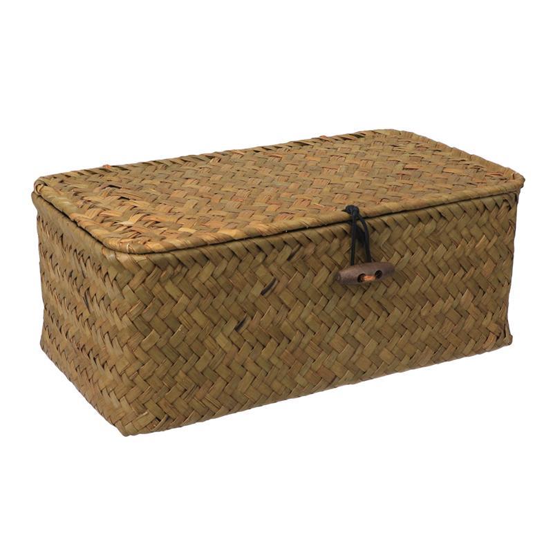 1PC Straw Basket Woven Box Decorative Rattan Sundries Clothes Organizer Basket Storage Box For Desk Living Room
