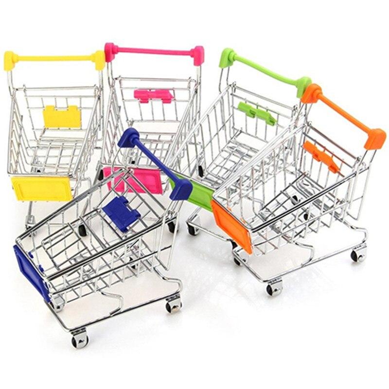 Supermarket Hand Trolley Mini Shopping Cart Desktop Decoration Storage Toy Gift Shopping Cart Storage Cartoon Toy For Kids