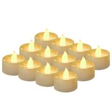 24 sztuk zestaw świeca elektroniczna lampa świąteczna fałszywe świeczki świece symulacyjne na świąteczne lampy kościelne dekoracje świąteczne tanie tanio NoEnName_Null 3 2 cm Pp plastikowe CR2032 (included) yellow flashing warm white light (optional)