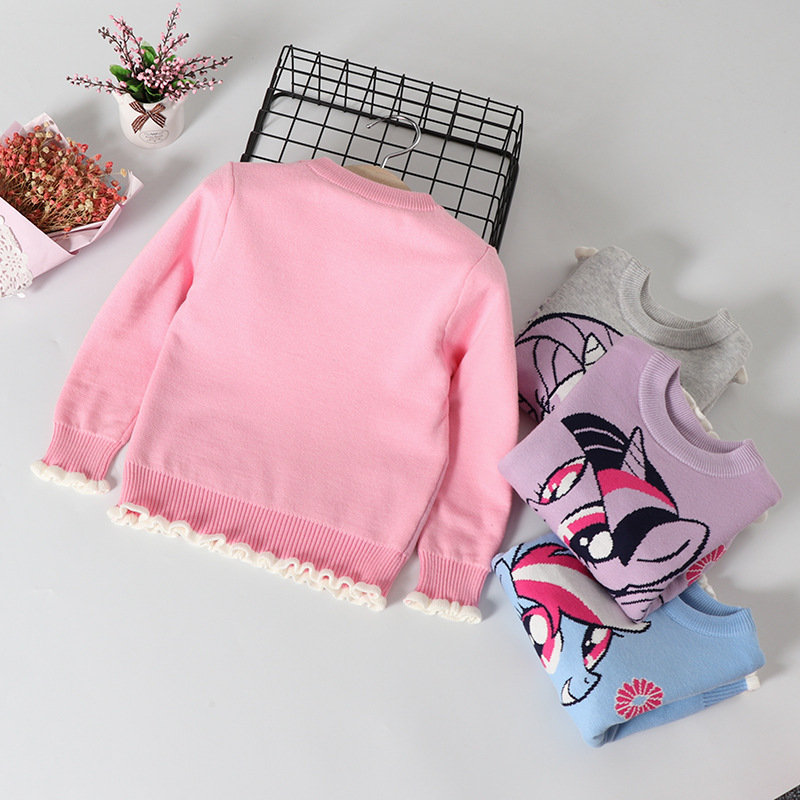 Kids' Sweater 19 New Style Autumn And Winter Korean-style Princess Pullover GIRL'S Knitted Shirt Female Baby Base Shirt