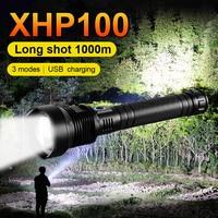XHP100 LED 손전등, 전술 토치 라이트 충전식 Usb 플래시 라이트 사냥 XHP90 XHP50 Led 랜턴, 600000 LM 강력한 18650