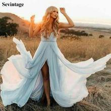 Sevintage простой светильник синее длинное выпускное платье
