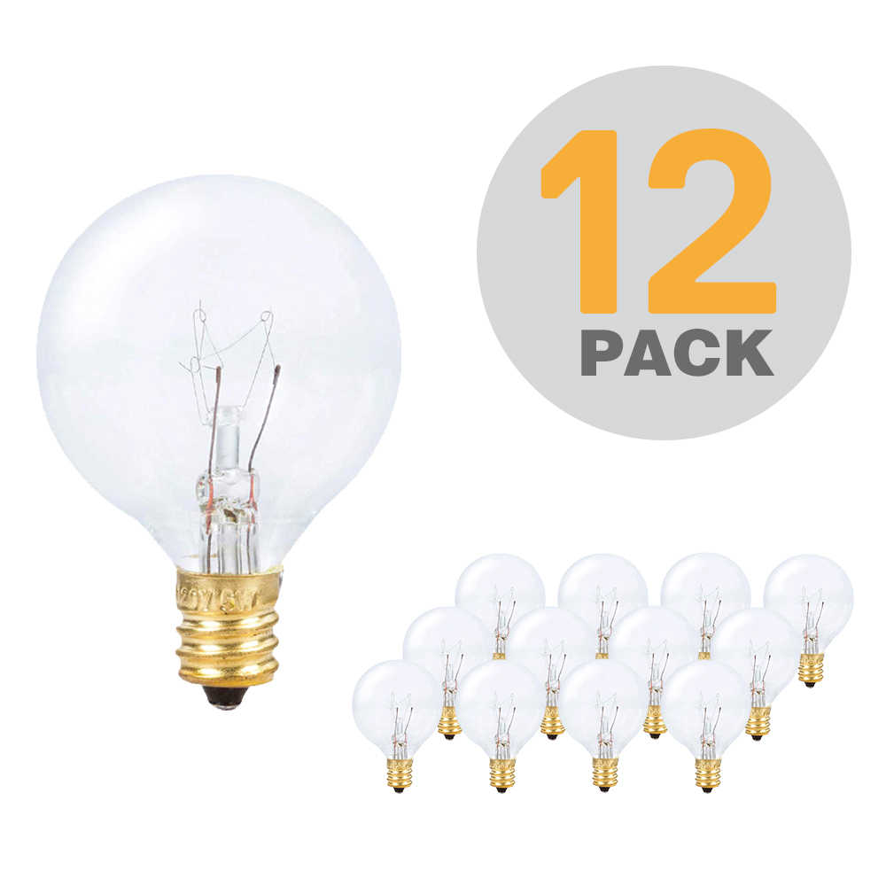 12X Clear Globe G40 Spare Bulbs, Warm Incandescent E12 Base Replacement Glass Bulb for G40 String Light
