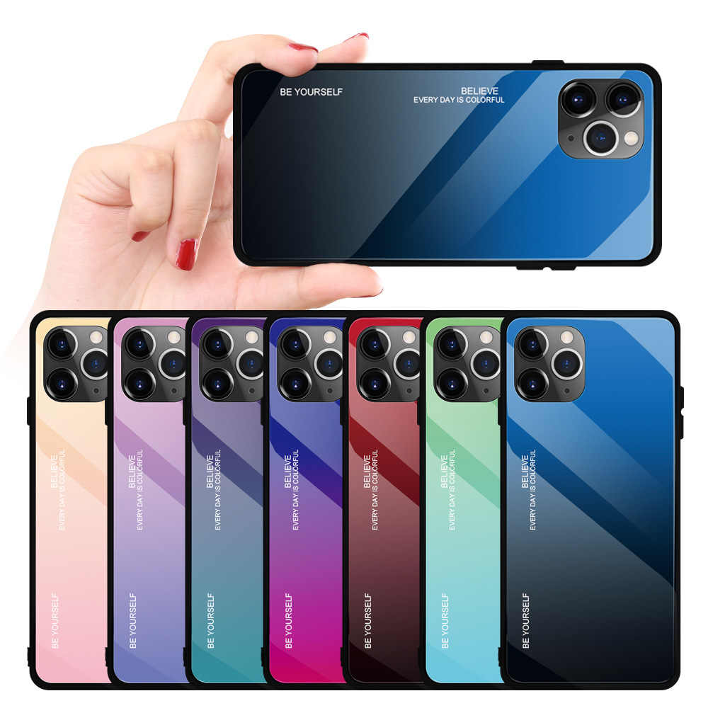 For Iphone X Luxury Creative Gradient Glass Drop-proof Tpu Phone Case for Iphone 11 Pro Max Phone Case for Iphone 6 6s 7 8 Plus