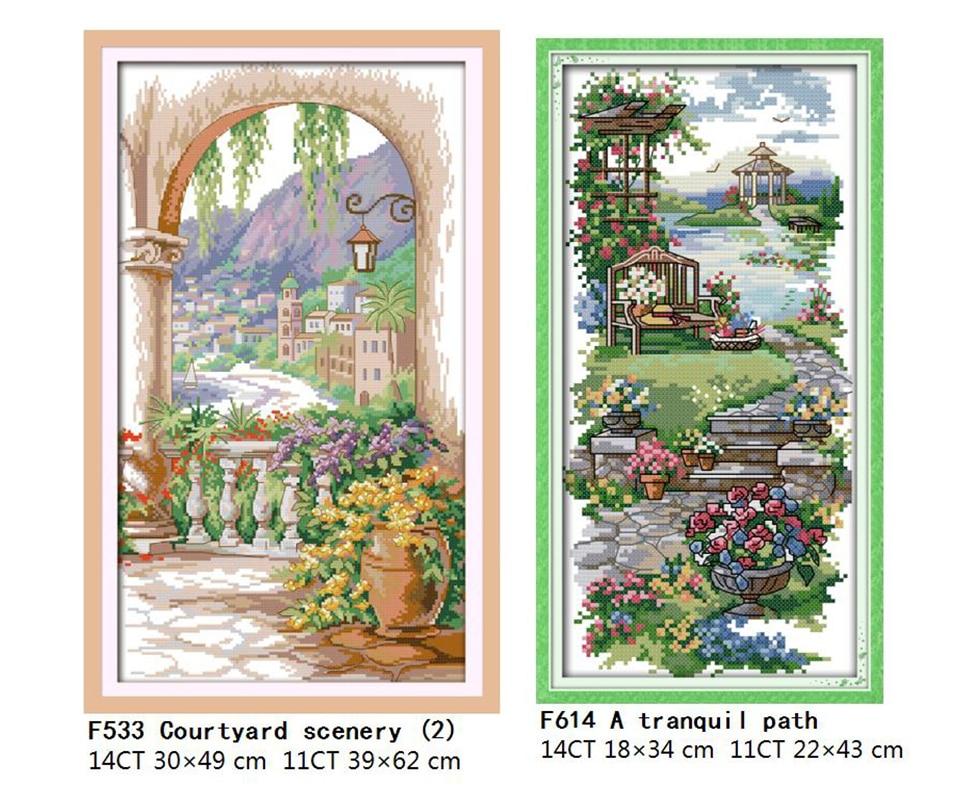 Landscape Patterns Joy Sunday Cross Stitch Printed Cross Stitch Kits DMC 11CT 14CT Cross Stitch Kits Embroidery Needlework Sets  (5)