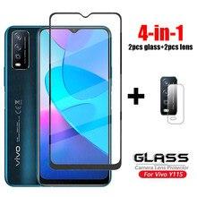 Para vidro vivo y11s cobertura completa vidro temperado para vivo y20 y31s y52s y12s y15 y17 y50 y30 y70 hd protetor de tela vidro do telefone