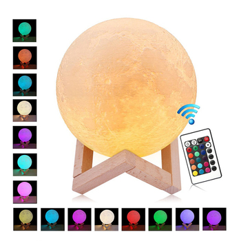 rechargeable 3d print moon light touch switch moon lamp 18cm 20cm led bedside bookcase night light home decororation luminaria Moon Lamp 16 Color Change Light Touch Switch 3D Print Night Light Rechargeable Bedroom Bookcase Remote LED moon light gifts
