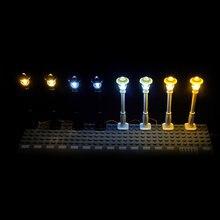 Şehir sokak lambası Mini Model hafif yapı taşları 7 limanlar LED USB ışık yayan klasik tuğla LED lambalar uyumlu tüm markalar