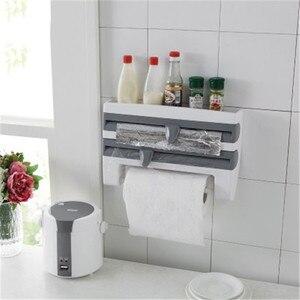 Kitchenace adesivo fixado na parede suporte de tecido sem emenda scroll gancho do banheiro gadget plástico envoltório titular cozinha organizar gadgets