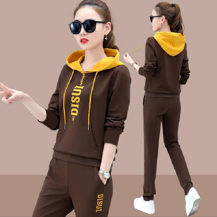 Hot Selling New Style Korean-style Hooded Sports Clothing Leisure Sports Suit Loose-Fit Running Two-Piece Set