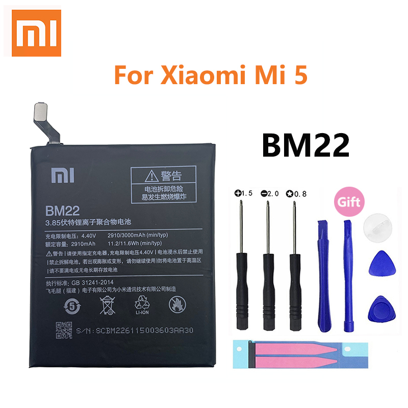 Original Xiao <font><b>Mi</b></font> <font><b>Battery</b></font> For XiaoMi BM22 <font><b>5</b></font> Mi5 M5 Prime Batterie 100% 3000mAh Real Capacity Phone Replacement Batteria Akku image