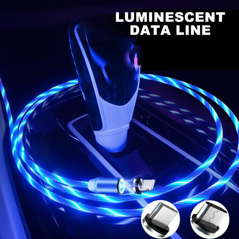 Circular Magnetic Streamer Data Line Magical Glow Nighttime Mobile Phone Charging Cable For Apple Android Typec