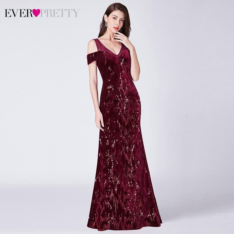 Sparkle Burgundy Prom Dresses Ever Pretty V-Neck Off The Shoulder Elegant Little Mermaid Dress Formal Party Gowns Gala Jurken