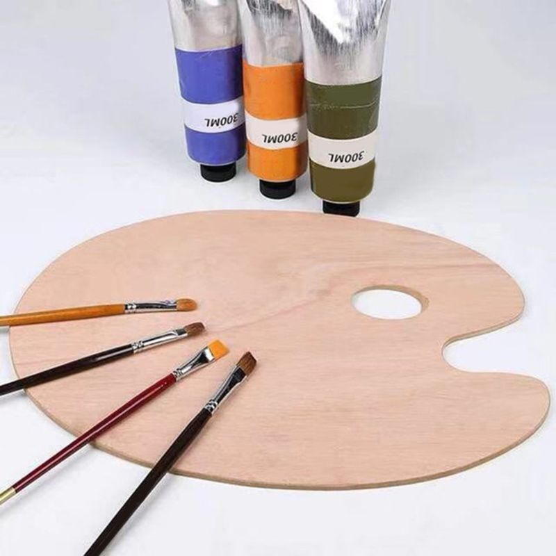 Wooden Artists Palette with Thumb Hole Oil Painting Acrylics Paint Oval Painting Palette Tray for Adult