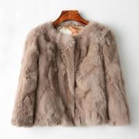 2019 Fashion Rabbit Mink Fur Faux Leather Cape Coats For Female Autumn Jacket Loose Winter Coat Women Fourrure Femme Furry Fox