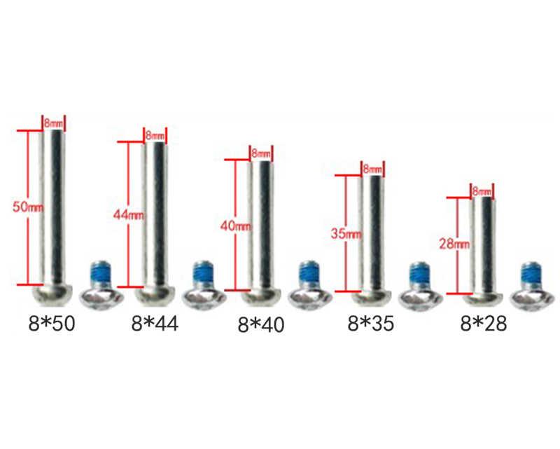شحن مجاني زلاجات دوارة أجزاء سكوتر المحور الذكور والإناث مسامير 8 مللي متر 6 مللي متر