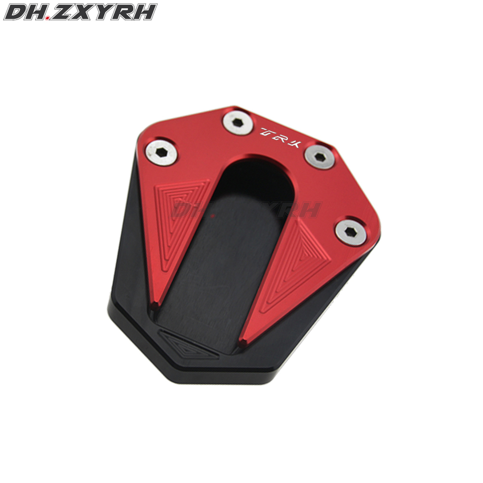Motorcycle Aluminum Alloy Foot Kickstand Extension Pad Plate Side Stand Enlarger for Benelli Trk 502 2017-2018 Titanium+Black