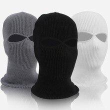 Unisex 2-hole malha máscara de esqui balaclava chapéu inverno cor sólida capa de rosto cheio pescoço gaiter ao ar livre gorro à prova de vento