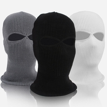 Unisex 2-Hole Knitted Ski Mask Balaclava Hat Winter Solid Color Full Face Cover Neck Gaiter Outdoor Windproof Beanie Cap
