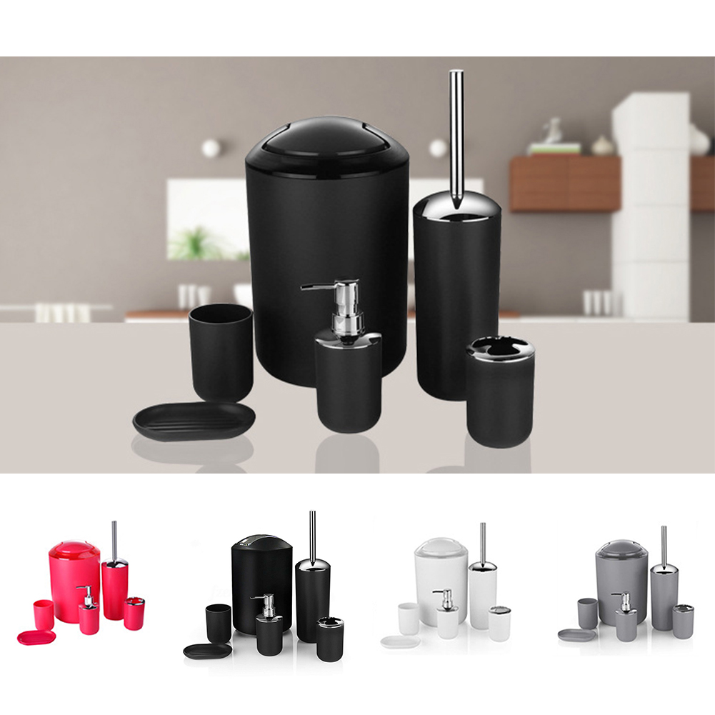 6pcs Large Capacity Bathroom Accessories Set Shower Storage Soap Dispenser Toothbrush Holder Waste Bin Cup Dish Hotel Home image