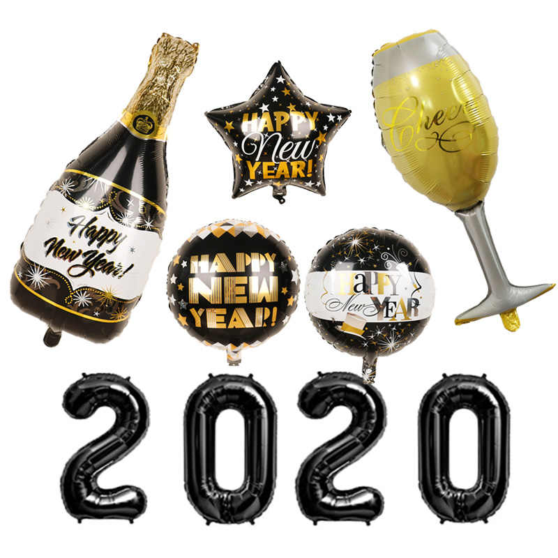 2020 Happy New Year Foil Balloons 18inch Black Bottle Helium Globos Eve Party Supplies Merry Christmas Decorations Ballon
