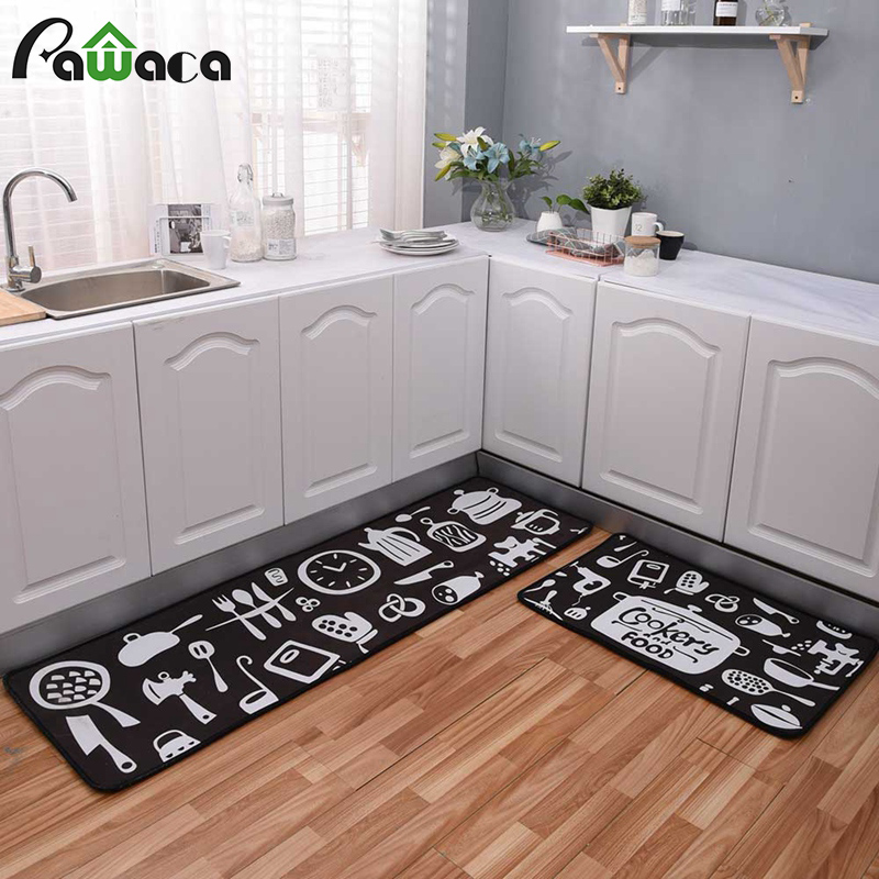 3 Sizes Kitchen Mat Rug Comfort Ergonomic Floor Mat Waterproof PVC Non-slip Washable Decorative Carpet Kitchen Bathroom Bath Mat