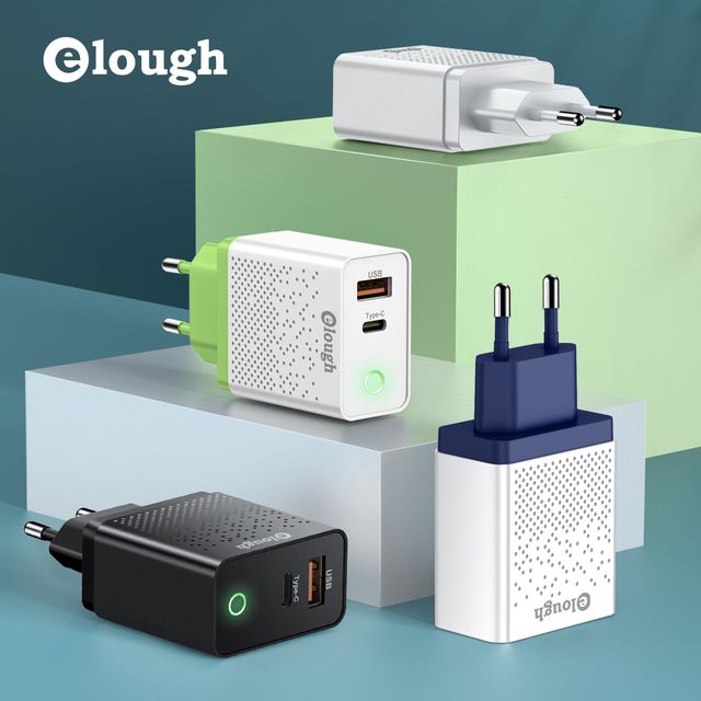 Elough Quick charge 3.0 USB Charger for iPhone 11 7 Xiaomi Samsung Huawei 5V 3A Digital Display Fast Charging Wall Phone Charger 6