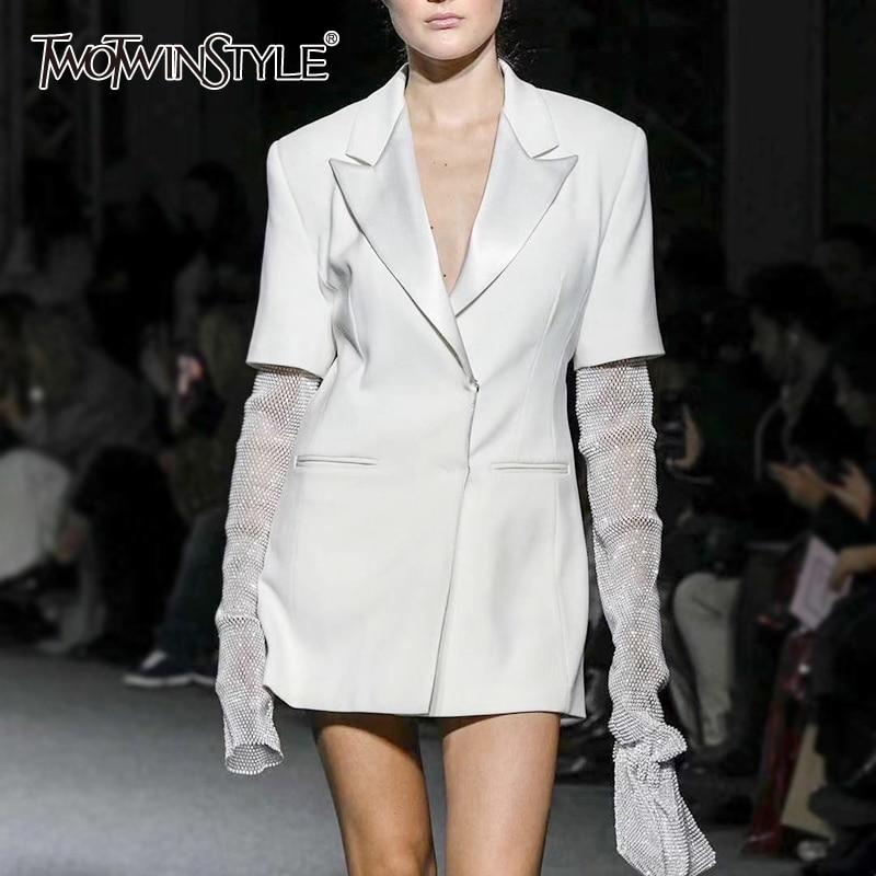 TWOTWINSTYLE Vintage Patchwork Diamonds Women Blazer Notched Long Sleeve Tunic Hit Color Casual Suit Female Fashion Clothes Tide