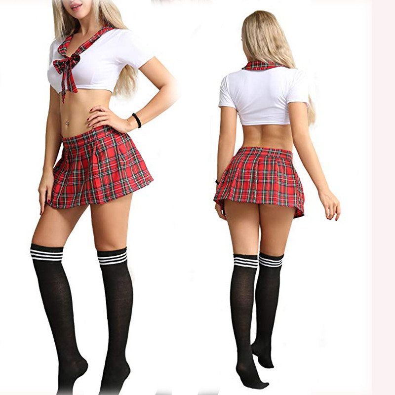 Hot Sexy Lingerie With Short Skirt New Cosplay Schoolgirl Student Uniform Set Clubwear Underwear Erotic Costumes