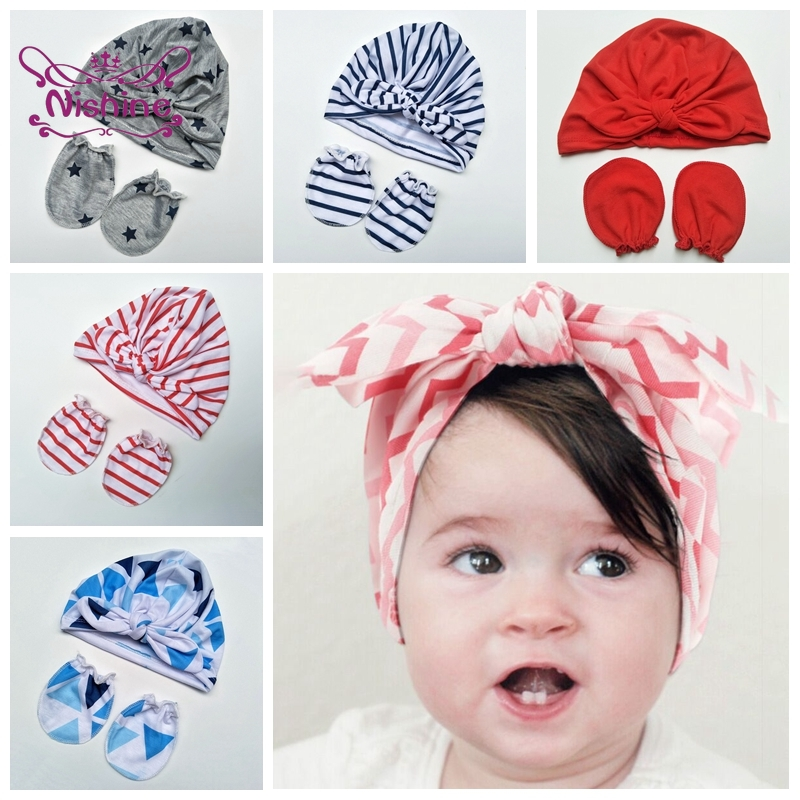 Nishine Newborn Soft Comfortable Polyester Cotton Hat and Glove Set Cute Bunny Ears Baby Caps Kids Anti-Grab Face Protect Mitten