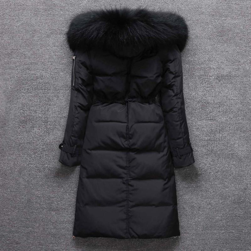 Winter 90% Duck Down Jacket Women Hood Slim Coat Parka Natural Raccoon Fur Warm Long Overcoat Manteau Femme LX2261