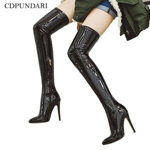 Image 1 - 2021 botas de salto alto sobre o joelho botas femininas estiramento coxa botas altas senhoras outono inverno botas longas cuissardes sexy mais siz