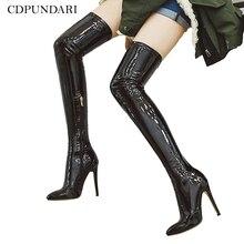 أحذية عالية الكعب 2021 فوق الركبة أحذية نسائية تمتد الفخذ أحذية عالية السيدات الخريف الشتاء أحذية طويلة أحذية Cuissardes مثير زائد Siz