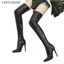 Sexy Stiletto tacones altos por encima de la rodilla botas de las mujeres Stretch de alta del muslo botas damas primavera otoño zapatos, botas largas Cuissardes